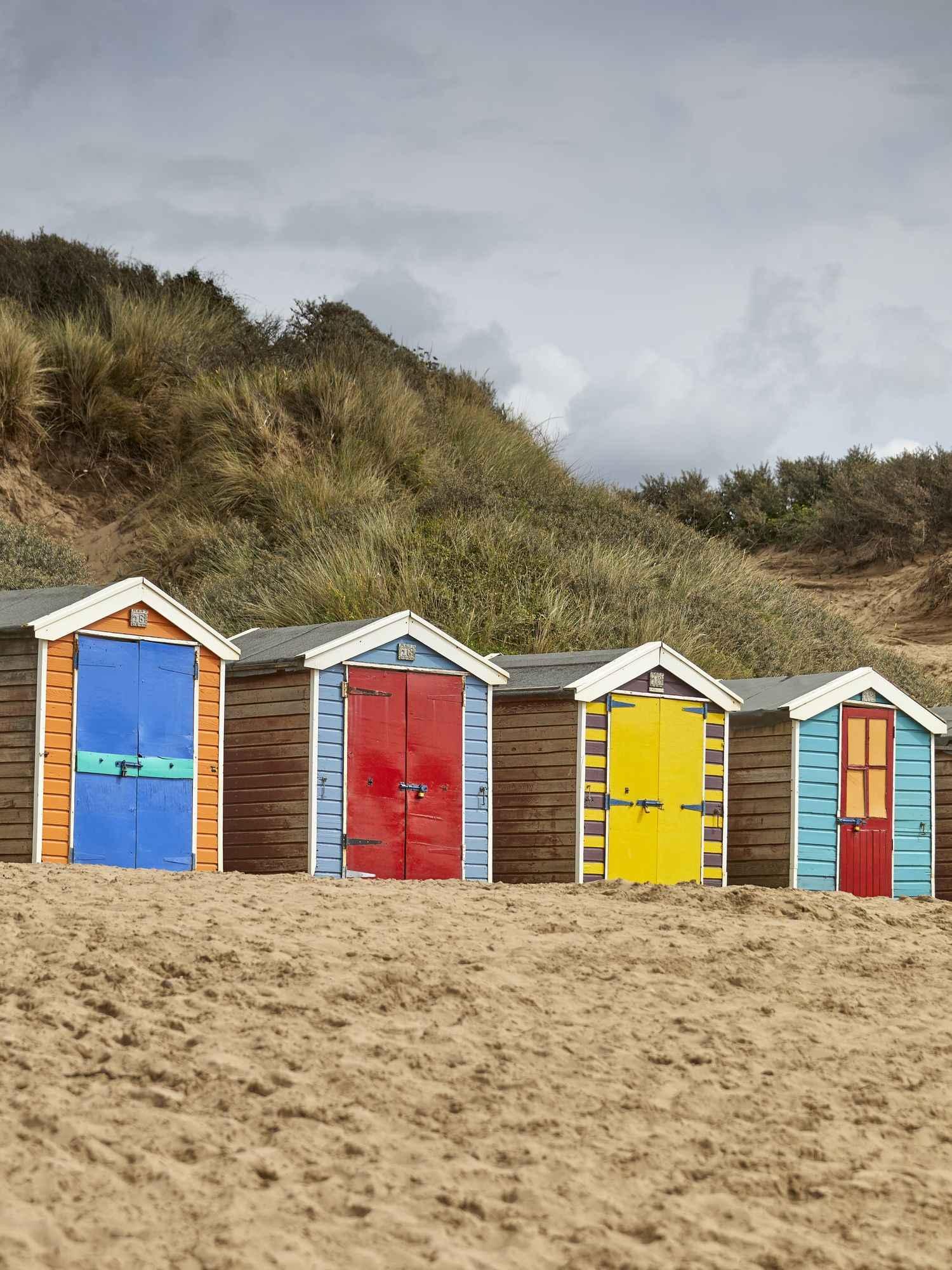 colourful Beach Huts in North Devon