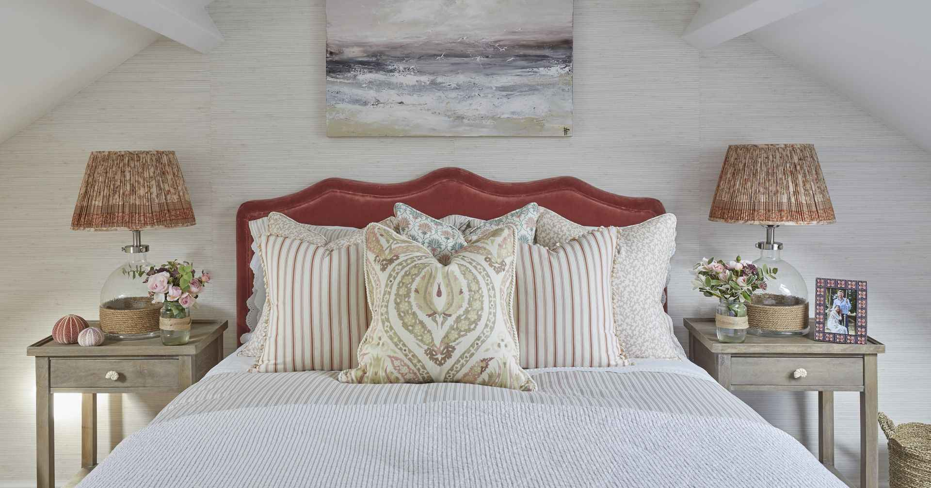Pillow arrangement of the pink room at Mountain Ash House